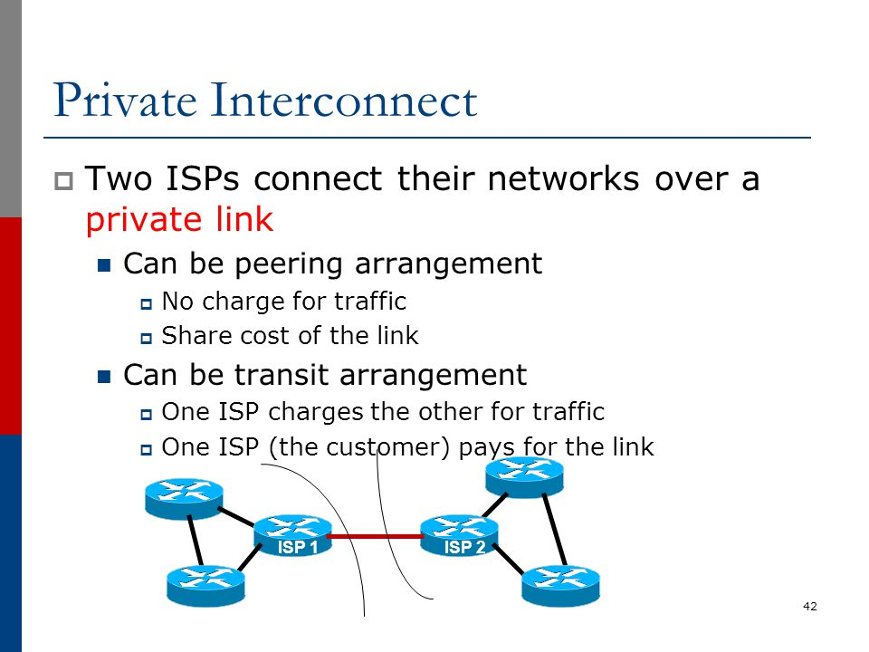 Private Interconnect  Two ISPs connect their networks over a private link Can be peering arrangement  No charge for traffic  Share cost of the link