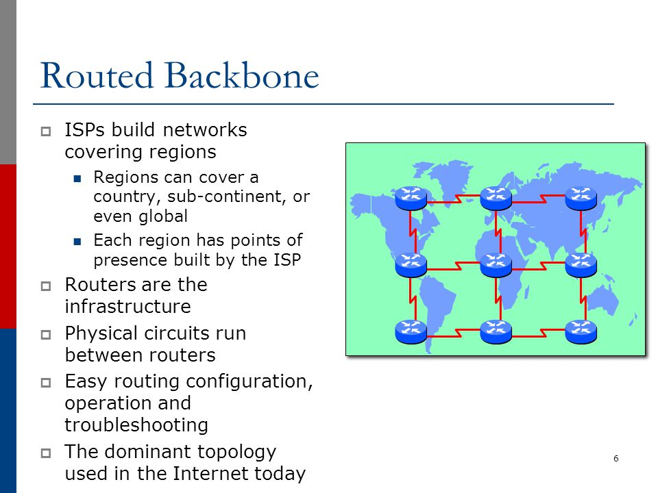 MPLS Backbones  Some ISPs & Telcos use Multi Protocol Label Switching (MPLS)  MPLS is built on top of router infrastructure Used replace old ATM technology Tunnelling technology  Main purpose is to provide VPN services Although these can be done just as easily with other tunnelling technologies such as GRE 7