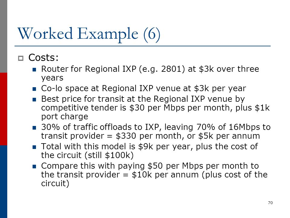 Worked Example (6)  Costs: Router for Regional IXP (e.g. 2801) at $3k over three years Co-lo space at Regional IXP venue at $3k per year Best price f