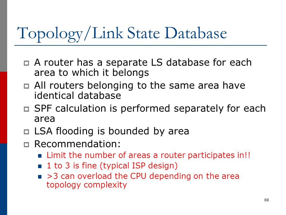 Topology/Link State Database  A router has a separate LS database for each area to which it belongs  All routers belonging to the same area have ide