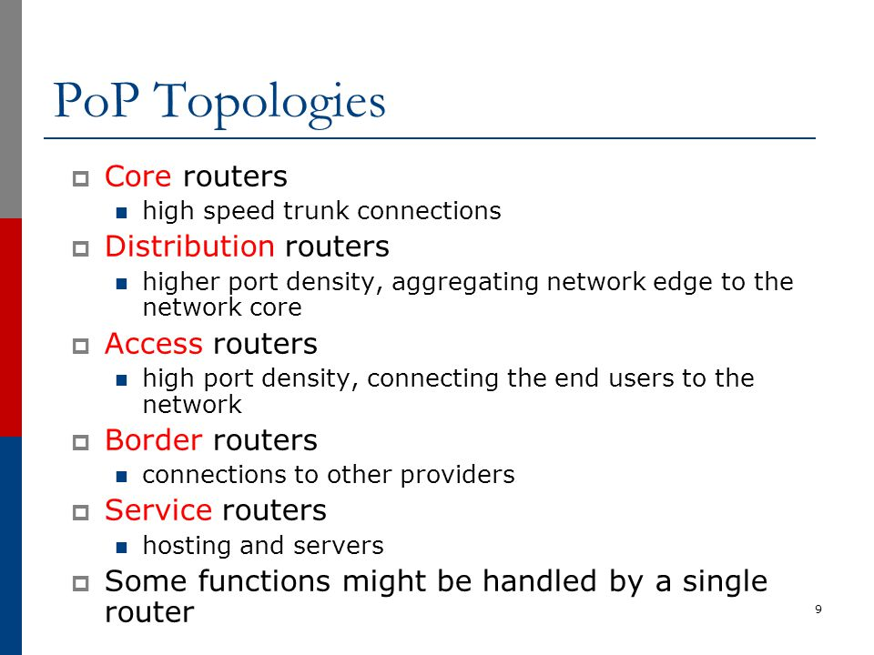 Typical PoP Design 10 Backbone link to another PoP Backbone link to another PoP Business Customer Aggregation Other ISPs Network Core ISP Services (DNS, Mail, News, FTP, WWW) Hosted Services Consumer Aggregation Other ISPs Border Service Access Service Network Operation Centre