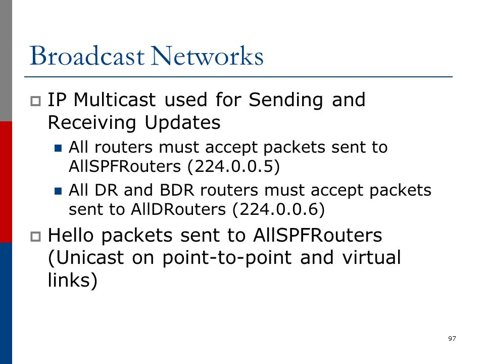 Broadcast Networks  IP Multicast used for Sending and Receiving Updates All routers must accept packets sent to AllSPFRouters (224.0.0.5) All DR and