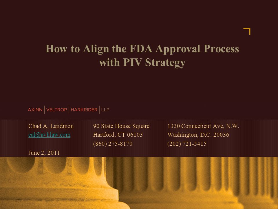 AXINN, VELTROP & HARKRIDER LLP © 2007 | www.avhlaw.com How to Align the FDA Approval Process with PIV Strategy Chad A.