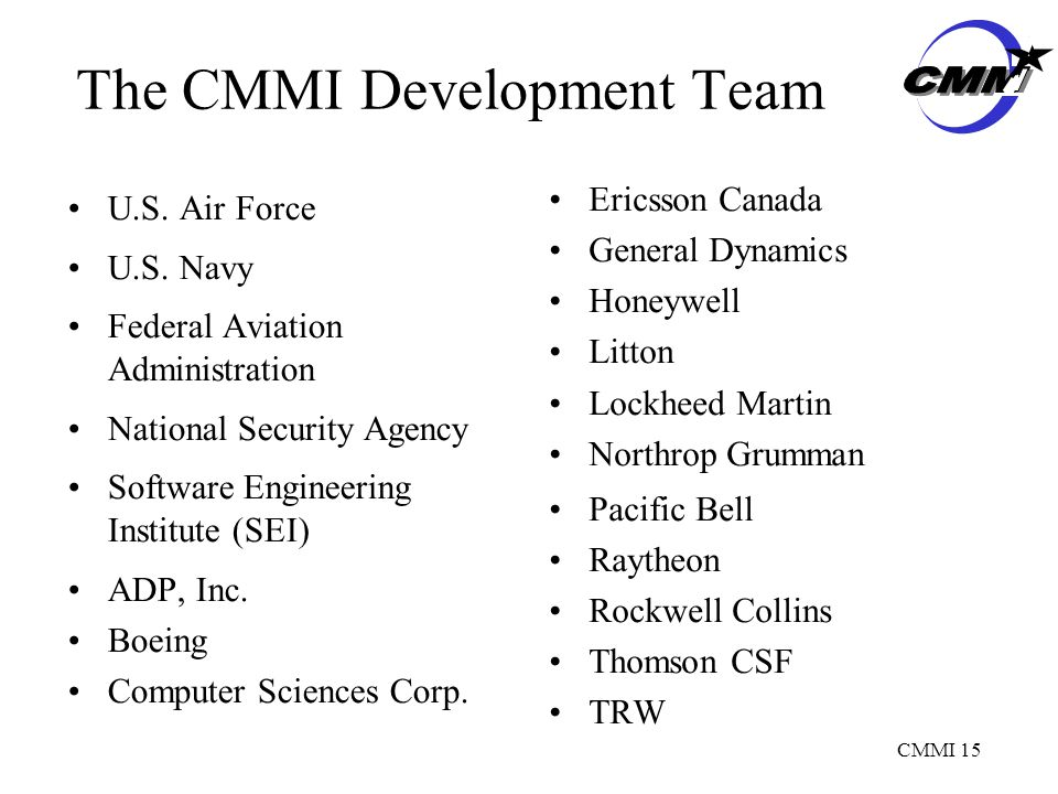 CMMI 15 The CMMI Development Team U.S. Air Force U.S.