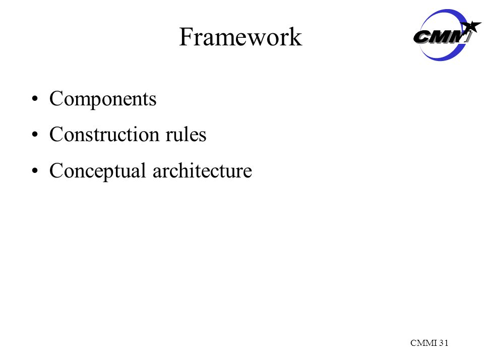 CMMI 31 Framework Components Construction rules Conceptual architecture