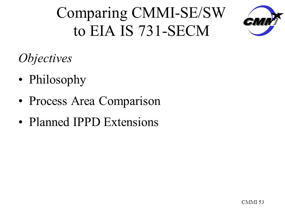 CMMI 53 Comparing CMMI-SE/SW to EIA IS 731-SECM Objectives Philosophy Process Area Comparison Planned IPPD Extensions