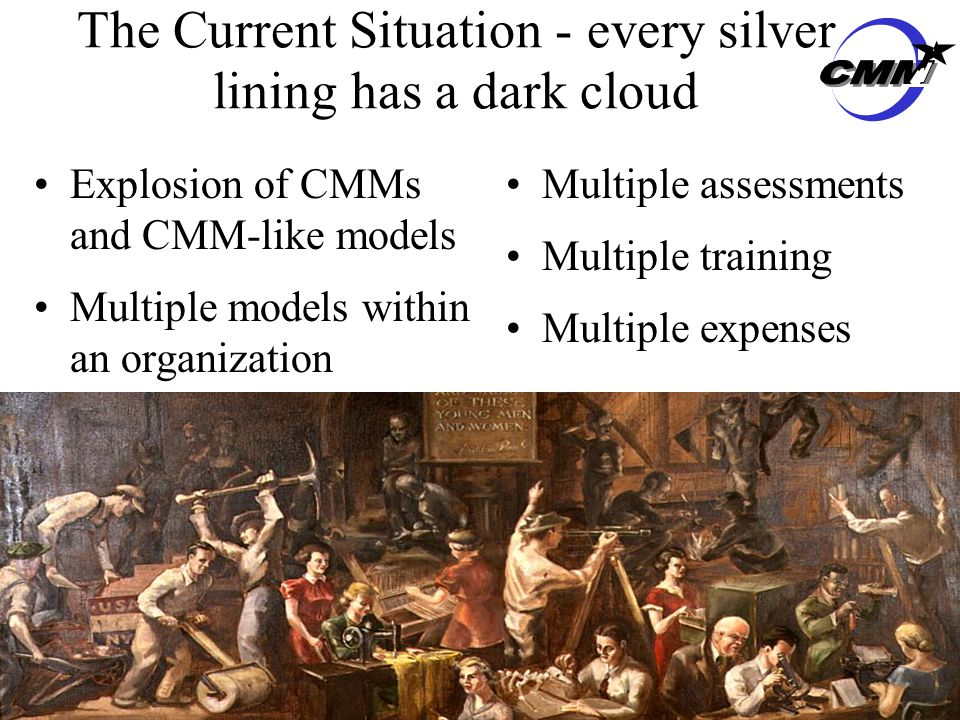 CMMI 7 The Current Situation - every silver lining has a dark cloud Explosion of CMMs and CMM-like models Multiple models within an organization Multiple assessments Multiple training Multiple expenses