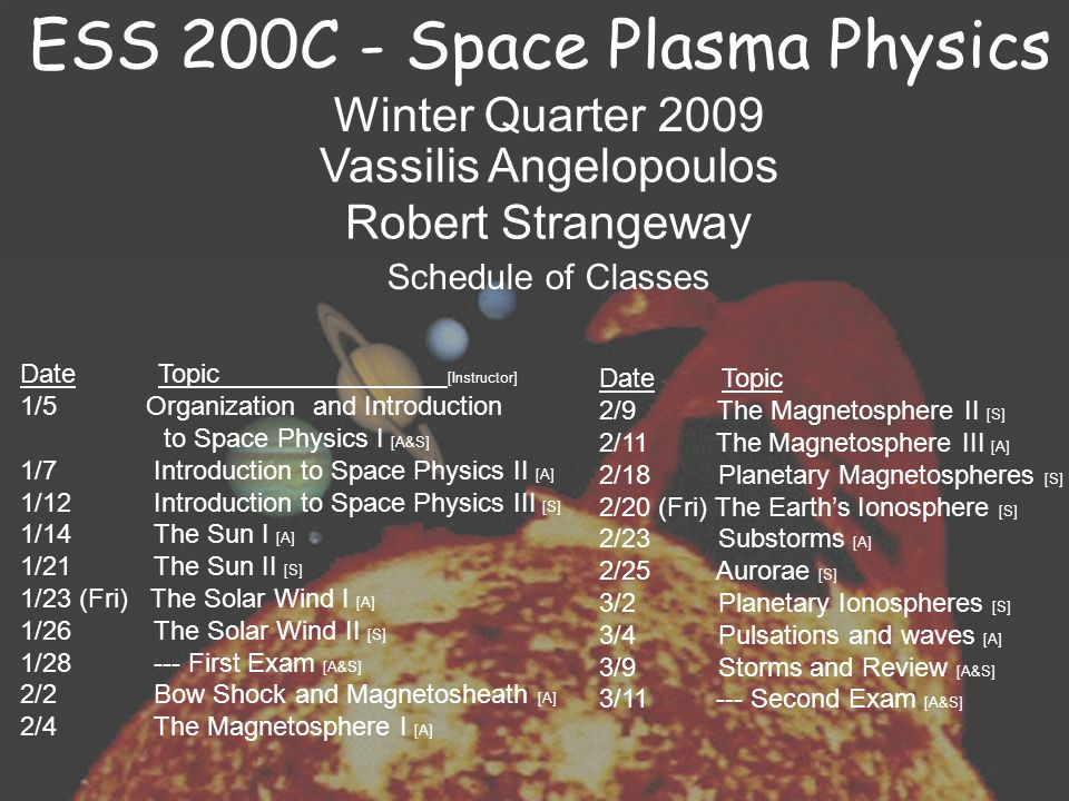 ESS 200C – Space Plasma Physics There will be two examinations and homework assignments.