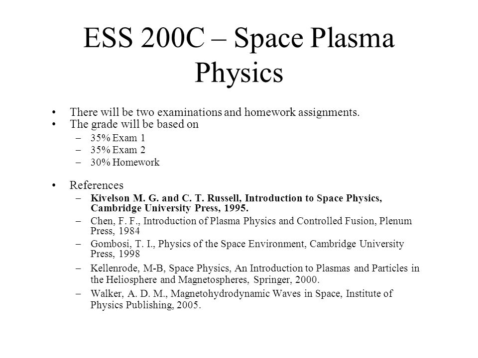 A plasma as a collection of particles –The properties of a collection of particles can be described by specifying how many there are in a 6 dimensional volume called phase space.