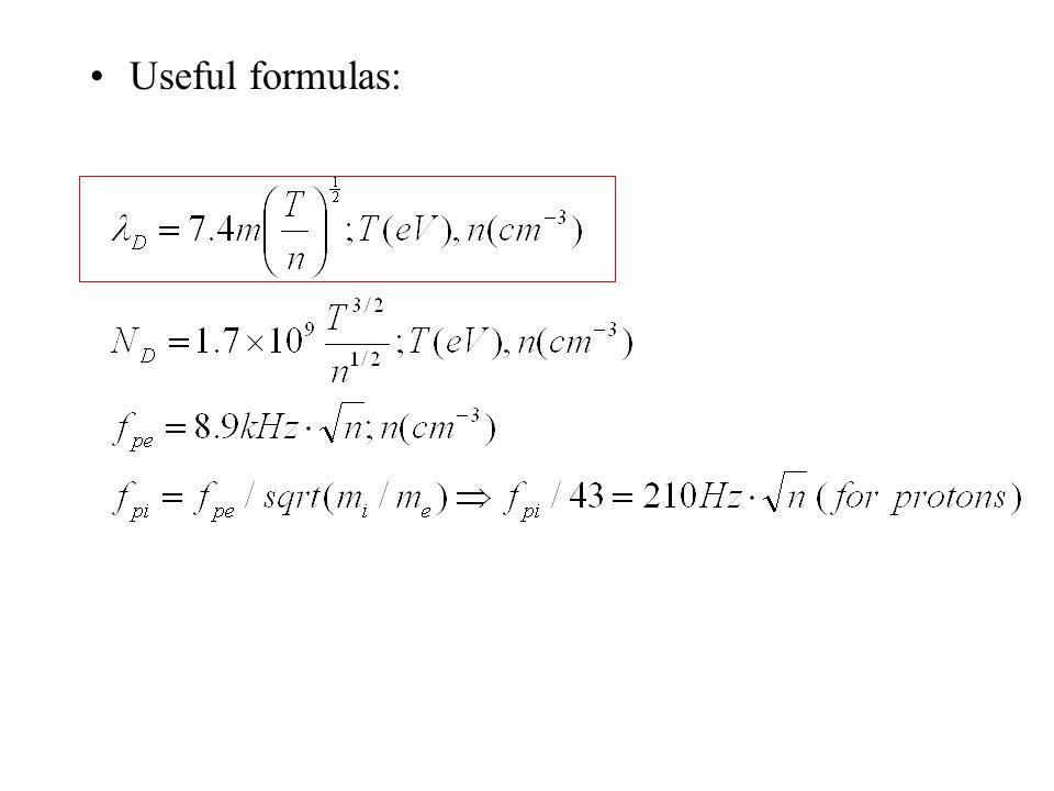 Useful formulas:
