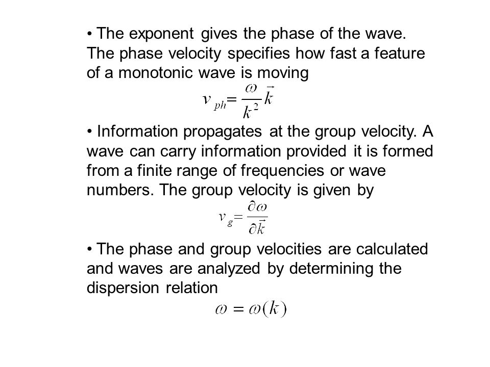 The exponent gives the phase of the wave.