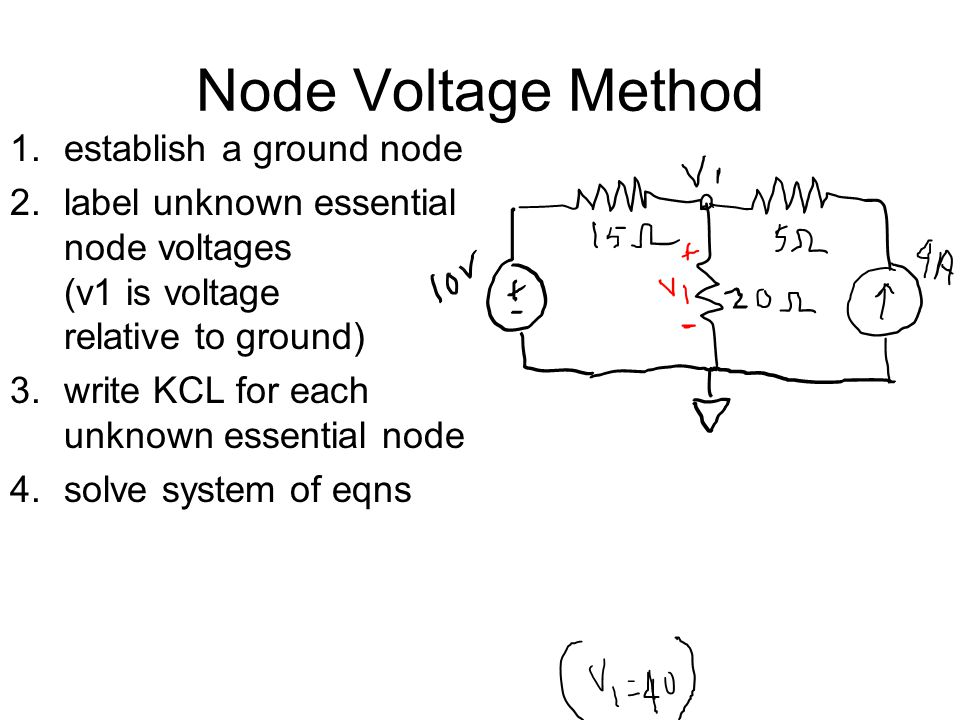 Node Voltage Method 1.establish a ground node 2.label unknown essential node voltages (v1 is voltage relative to ground) 3.write KCL for each unknown essential node 4.solve system of eqns