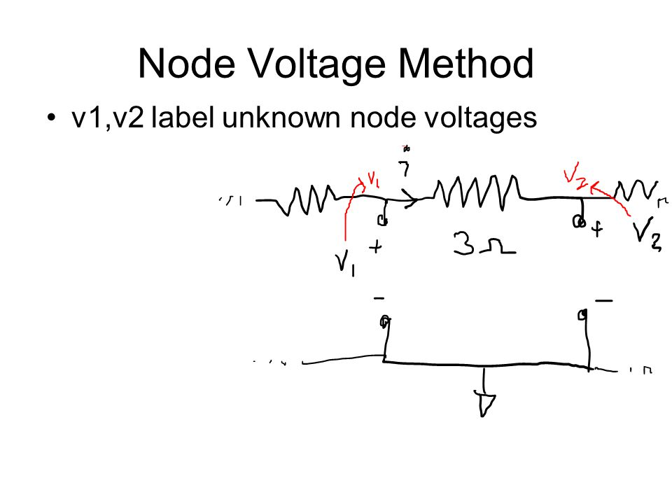 Node Voltage Method v1,v2 label unknown node voltages