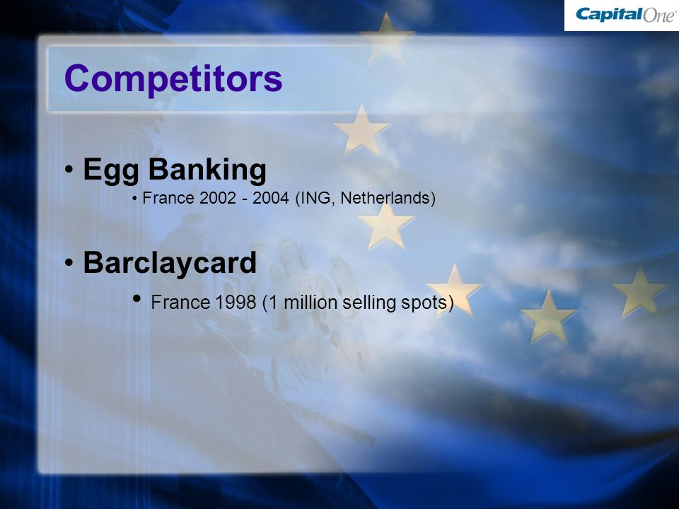 Competitors Egg Banking France (ING, Netherlands) Barclaycard France 1998 (1 million selling spots)