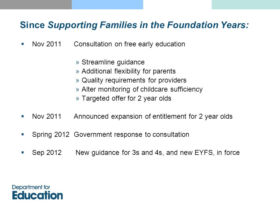 Since Supporting Families in the Foundation Years:  Nov 2011 Consultation on free early education »Streamline guidance »Additional flexibility for parents »Quality requirements for providers »Alter monitoring of childcare sufficiency »Targeted offer for 2 year olds  Nov 2011 Announced expansion of entitlement for 2 year olds  Spring 2012 Government response to consultation  Sep 2012 New guidance for 3s and 4s, and new EYFS, in force