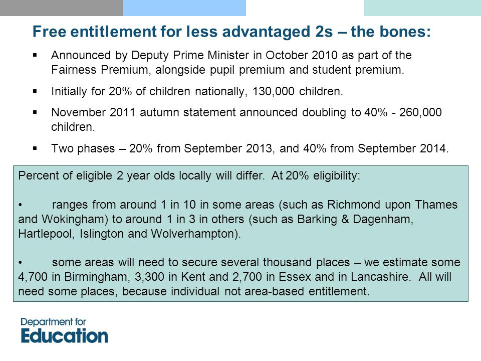 Free entitlement for less advantaged 2s: rationale  There are attainment gaps between disadvantaged children and others throughout education system.