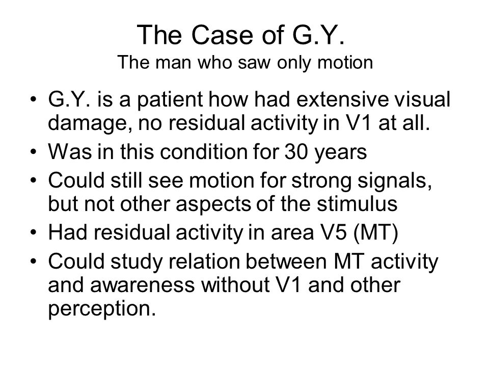 The Case of G.Y. The man who saw only motion G.Y.
