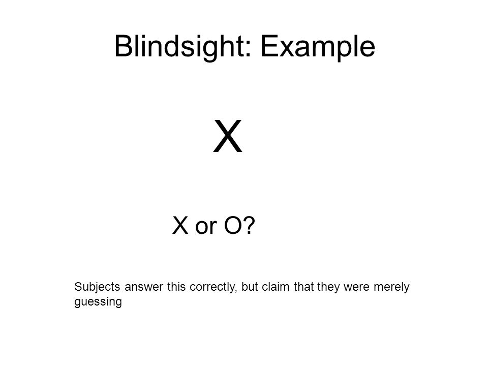 Blindsight: Example X X or O.