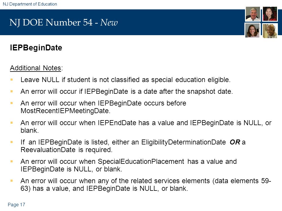 Page 17 NJ Department of Education NJ DOE Number 54 - New IEPBeginDate Additional Notes:  Leave NULL if student is not classified as special educatio