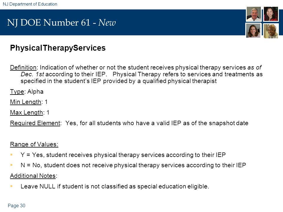 Page 30 NJ Department of Education NJ DOE Number 61 - New PhysicalTherapyServices Definition: Indication of whether or not the student receives physic