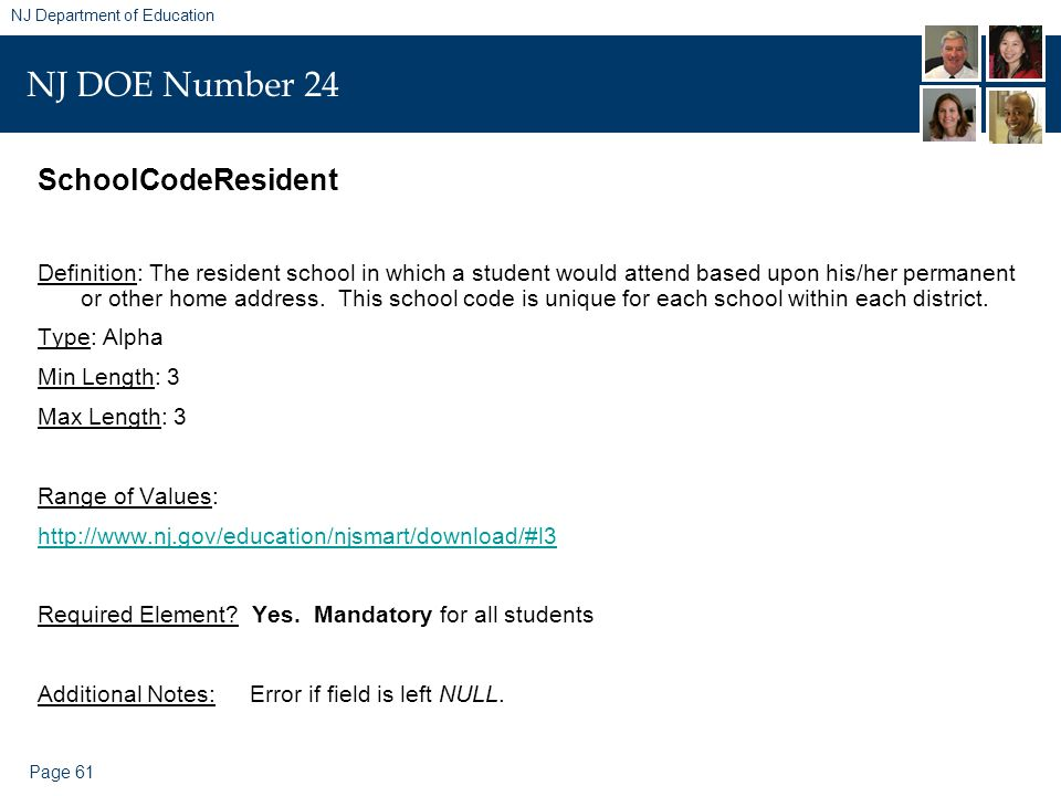 Page 61 NJ Department of Education NJ DOE Number 24 SchoolCodeResident Definition: The resident school in which a student would attend based upon his/