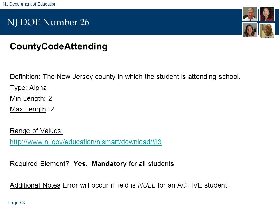 Page 63 NJ Department of Education NJ DOE Number 26 CountyCodeAttending Definition: The New Jersey county in which the student is attending school. Ty