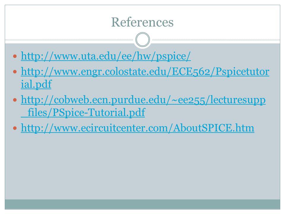 References http://www.uta.edu/ee/hw/pspice/ http://www.engr.colostate.edu/ECE562/Pspicetutor ial.pdf http://www.engr.colostate.edu/ECE562/Pspicetutor ial.pdf http://cobweb.ecn.purdue.edu/~ee255/lecturesupp _files/PSpice-Tutorial.pdf http://cobweb.ecn.purdue.edu/~ee255/lecturesupp _files/PSpice-Tutorial.pdf http://www.ecircuitcenter.com/AboutSPICE.htm