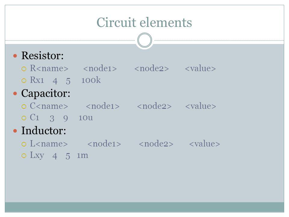 Circuit elements Resistor:  R  Rx1 4 5 100k Capacitor:  C  C1 3 9 10u Inductor:  L  Lxy 4 5 1m