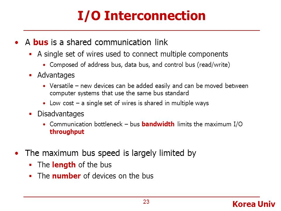 Korea Univ I/O Interconnection A bus is a shared communication link  A single set of wires used to connect multiple components Composed of address bu