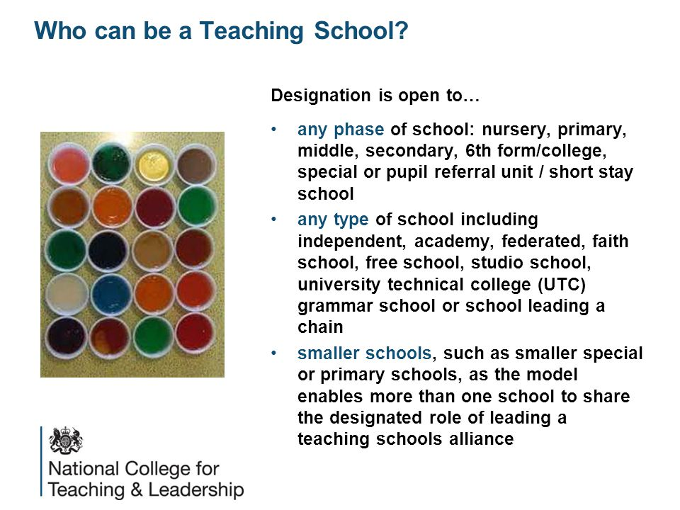 Designation is open to… any phase of school: nursery, primary, middle, secondary, 6th form/college, special or pupil referral unit / short stay school any type of school including independent, academy, federated, faith school, free school, studio school, university technical college (UTC) grammar school or school leading a chain smaller schools, such as smaller special or primary schools, as the model enables more than one school to share the designated role of leading a teaching schools alliance Who can be a Teaching School?