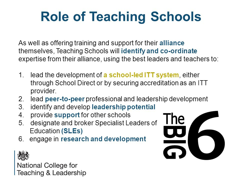 Role of Teaching Schools As well as offering training and support for their alliance themselves, Teaching Schools will identify and co-ordinate expertise from their alliance, using the best leaders and teachers to: 1.lead the development of a school-led ITT system, either through School Direct or by securing accreditation as an ITT provider.