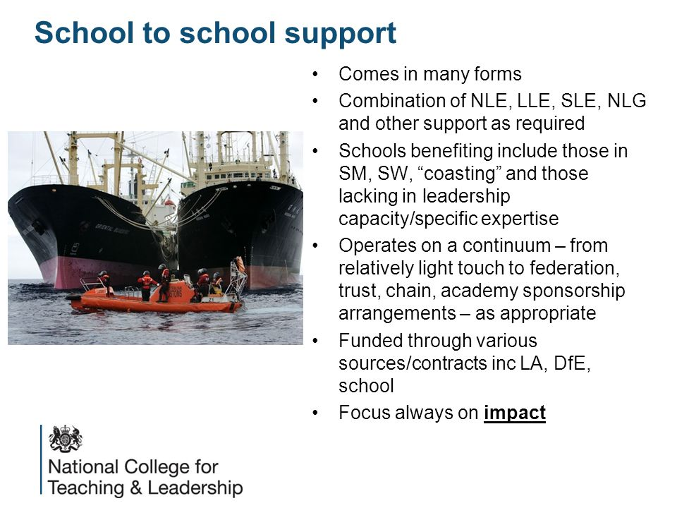 School to school support Comes in many forms Combination of NLE, LLE, SLE, NLG and other support as required Schools benefiting include those in SM, SW, coasting and those lacking in leadership capacity/specific expertise Operates on a continuum – from relatively light touch to federation, trust, chain, academy sponsorship arrangements – as appropriate Funded through various sources/contracts inc LA, DfE, school Focus always on impact