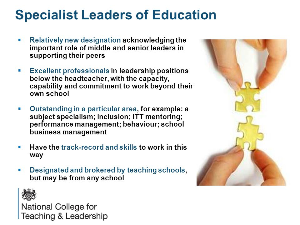 Specialist Leaders of Education  Relatively new designation acknowledging the important role of middle and senior leaders in supporting their peers  Excellent professionals in leadership positions below the headteacher, with the capacity, capability and commitment to work beyond their own school  Outstanding in a particular area, for example: a subject specialism; inclusion; ITT mentoring; performance management; behaviour; school business management  Have the track-record and skills to work in this way  Designated and brokered by teaching schools, but may be from any school