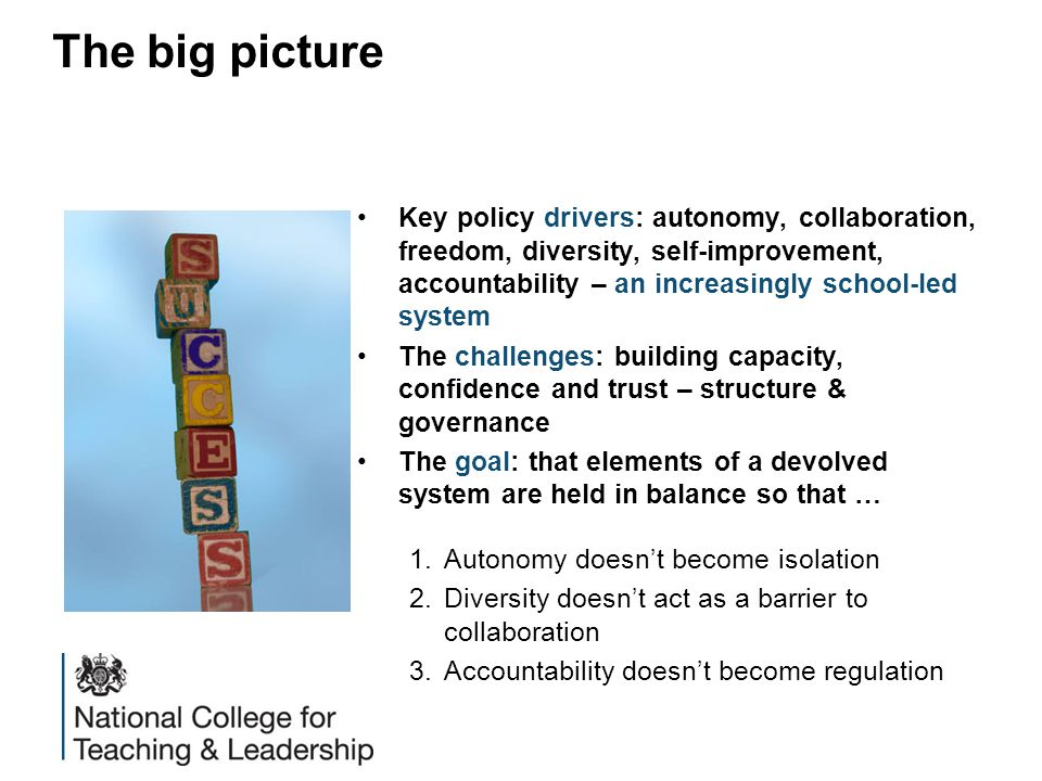 Key policy drivers: autonomy, collaboration, freedom, diversity, self-improvement, accountability – an increasingly school-led system The challenges: building capacity, confidence and trust – structure & governance The goal: that elements of a devolved system are held in balance so that … 1.Autonomy doesn't become isolation 2.Diversity doesn't act as a barrier to collaboration 3.Accountability doesn't become regulation The big picture