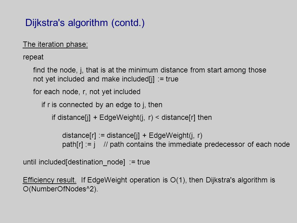 Dijkstra s algorithm (contd.) The iteration phase: repeat find the node, j, that is at the minimum distance from start among those not yet included and make included[j] := true for each node, r, not yet included if r is connected by an edge to j, then if distance[j] + EdgeWeight(j, r) < distance[r] then distance[r] := distance[j] + EdgeWeight(j, r) path[r] := j // path contains the immediate predecessor of each node until included[destination_node] := true Efficiency result.
