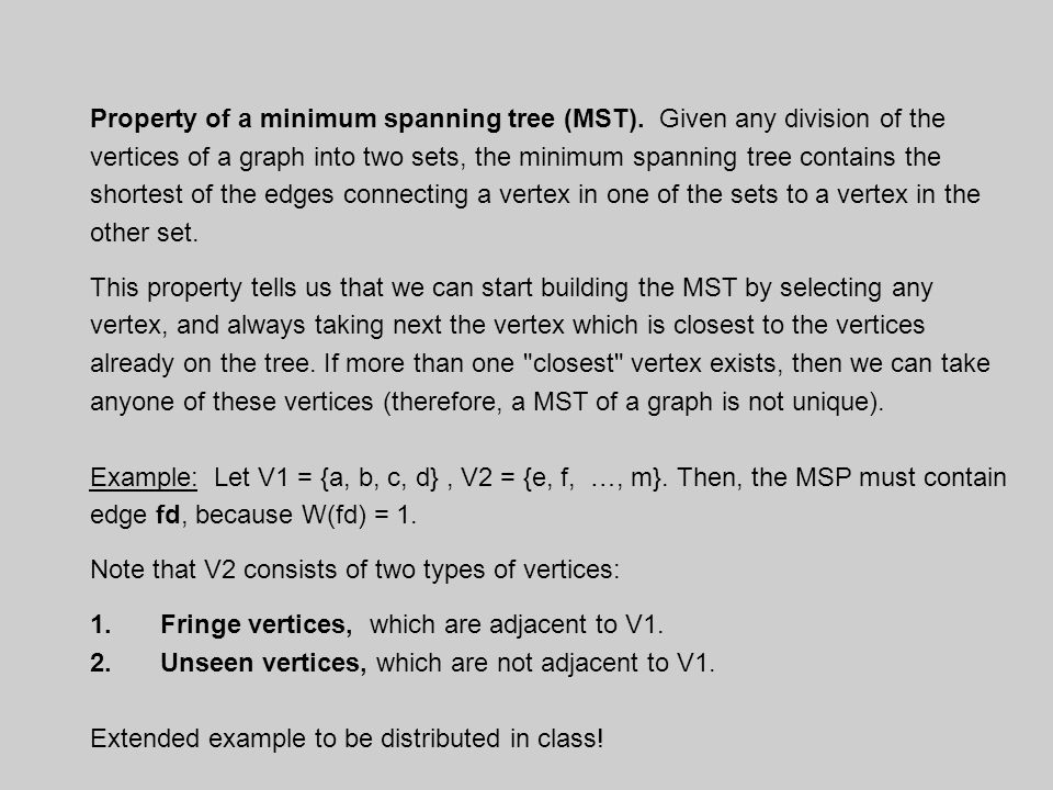 Property of a minimum spanning tree (MST).