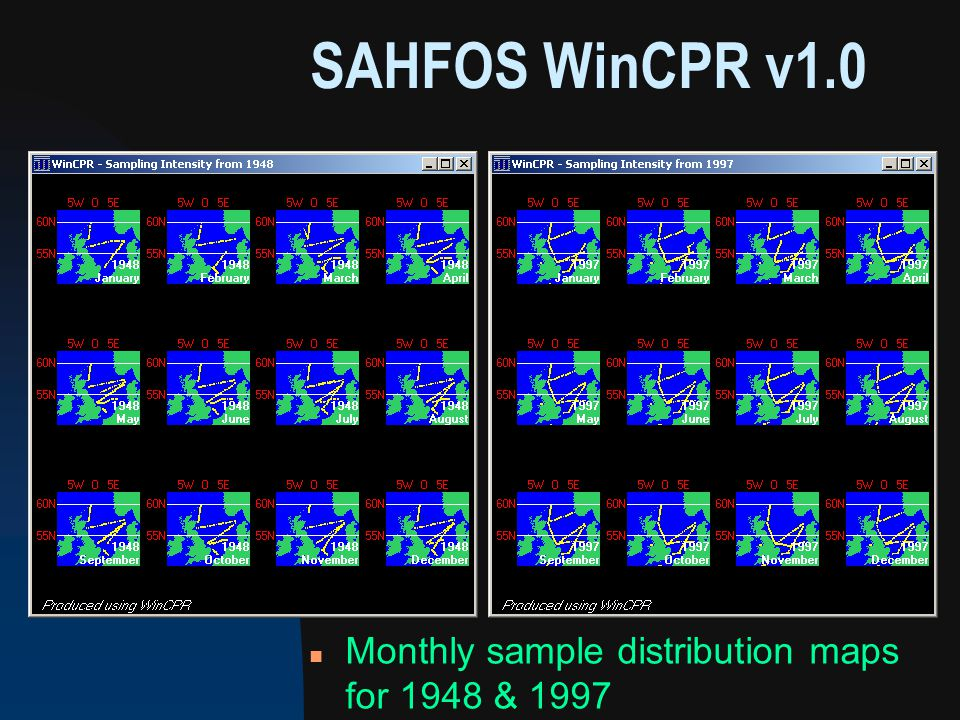 n Monthly sample distribution maps for 1948 & 1997