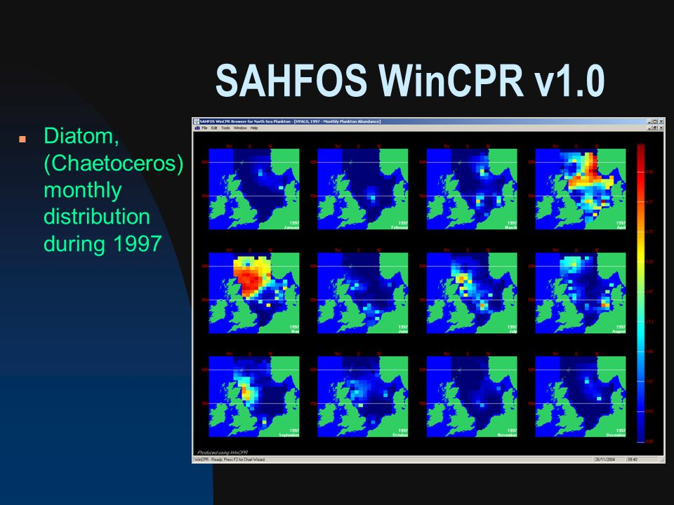 SAHFOS WinCPR v1.0 n Diatom, (Chaetoceros) monthly distribution during 1997