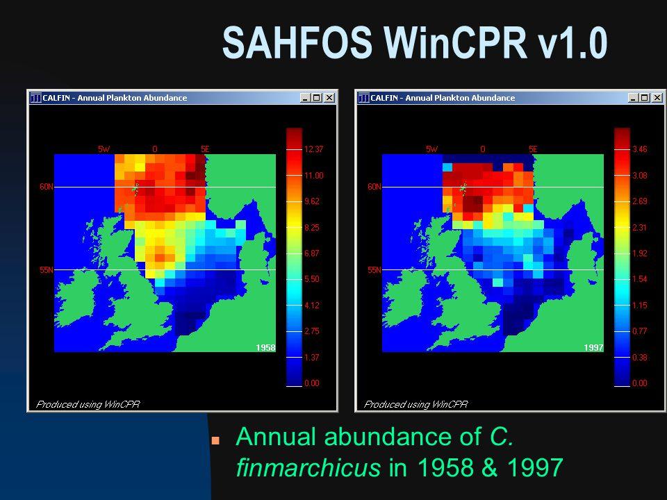 SAHFOS WinCPR v1.0 n Annual abundance of C. finmarchicus in 1958 & 1997