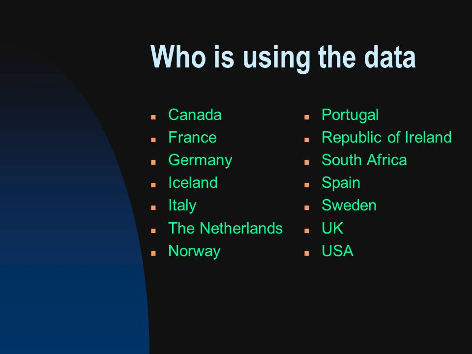 Who is using the data n Canada n France n Germany n Iceland n Italy n The Netherlands n Norway n Portugal n Republic of Ireland n South Africa n Spain n Sweden n UK n USA