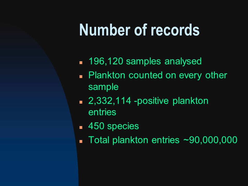 Number of records n 196,120 samples analysed n Plankton counted on every other sample n 2,332,114 -positive plankton entries n 450 species n Total plankton entries ~90,000,000
