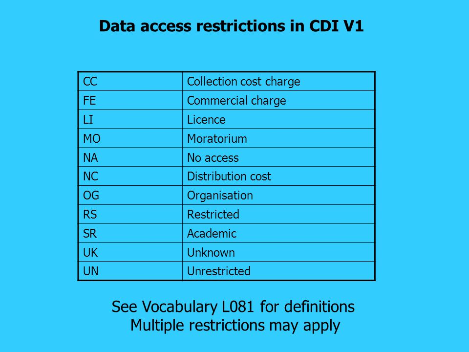 Data access restrictions in CDI V1 CCCollection cost charge FECommercial charge LILicence MOMoratorium NANo access NCDistribution cost OGOrganisation RSRestricted SRAcademic UKUnknown UNUnrestricted See Vocabulary L081 for definitions Multiple restrictions may apply