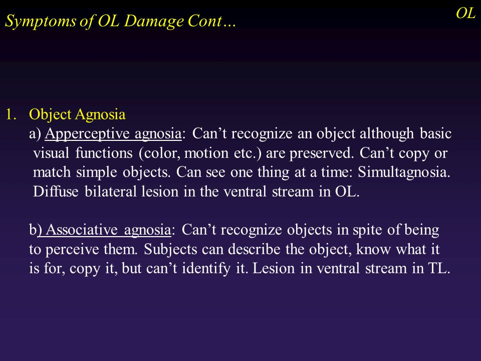 1.Object Agnosia a) Apperceptive agnosia: Can't recognize an object although basic visual functions (color, motion etc.) are preserved.
