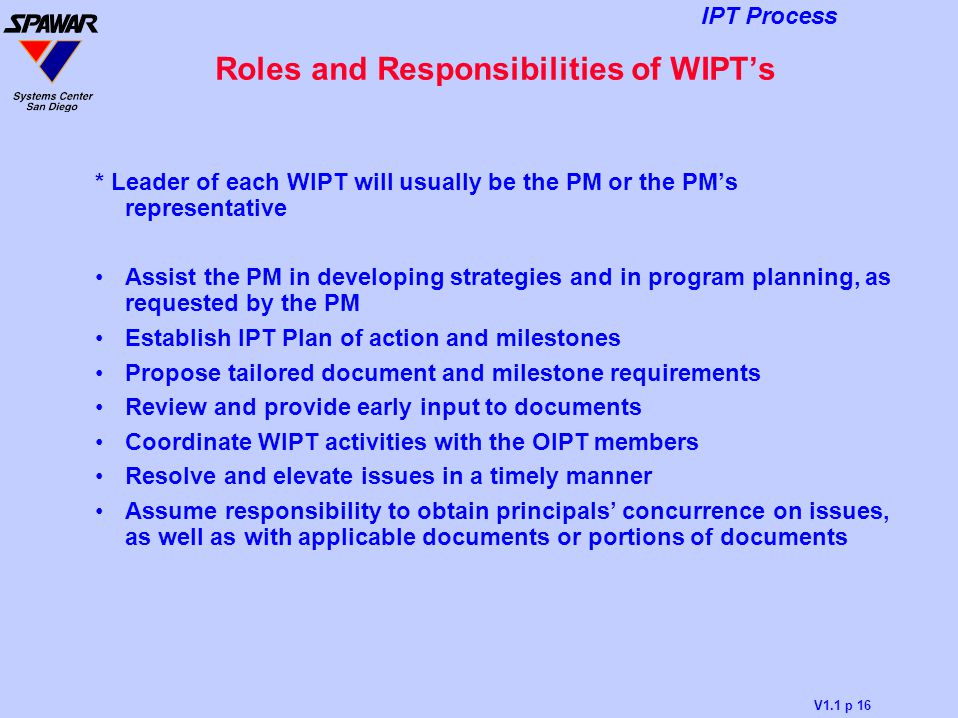V1.1 p 16 IPT Process Roles and Responsibilities of WIPT's * Leader of each WIPT will usually be the PM or the PM's representative Assist the PM in de