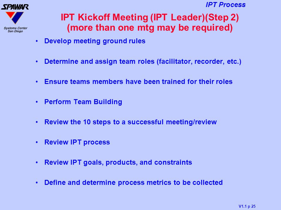 V1.1 p 25 IPT Process IPT Kickoff Meeting (IPT Leader)(Step 2) (more than one mtg may be required) Develop meeting ground rules Determine and assign t