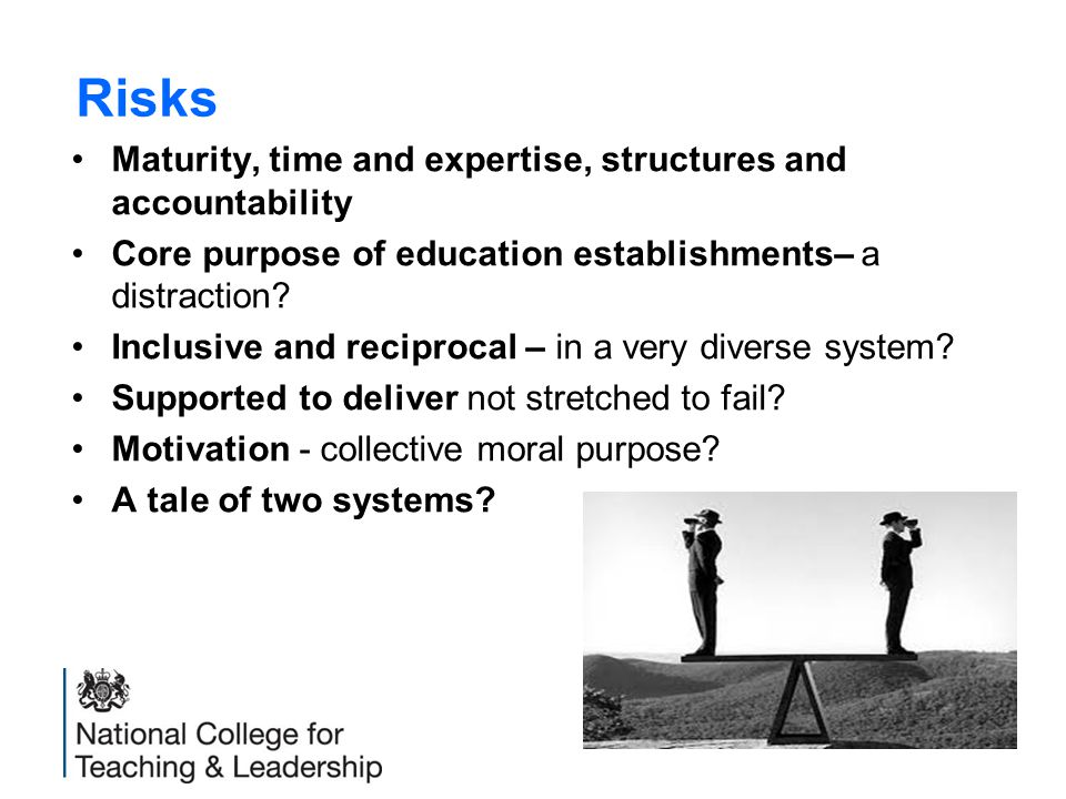 Risks Maturity, time and expertise, structures and accountability Core purpose of education establishments– a distraction.
