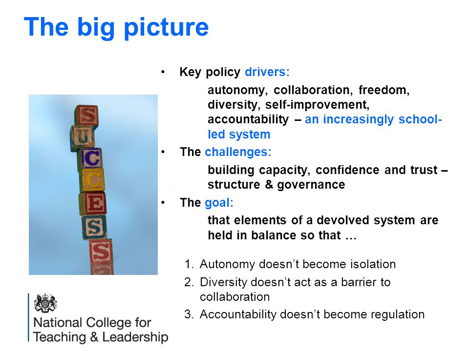 Key policy drivers: autonomy, collaboration, freedom, diversity, self-improvement, accountability – an increasingly school- led system The challenges: building capacity, confidence and trust – structure & governance The goal: that elements of a devolved system are held in balance so that … 1.Autonomy doesn't become isolation 2.Diversity doesn't act as a barrier to collaboration 3.Accountability doesn't become regulation The big picture