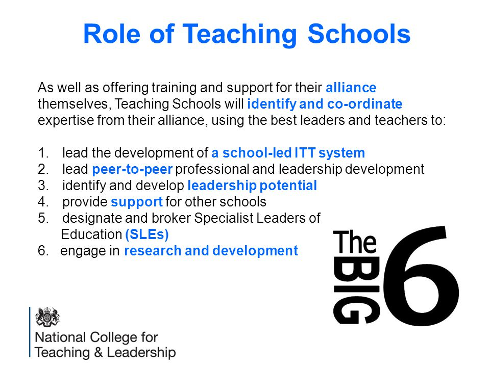 Role of Teaching Schools As well as offering training and support for their alliance themselves, Teaching Schools will identify and co-ordinate expertise from their alliance, using the best leaders and teachers to: 1.lead the development of a school-led ITT system 2.lead peer-to-peer professional and leadership development 3.identify and develop leadership potential 4.provide support for other schools 5.designate and broker Specialist Leaders of Education (SLEs) 6.