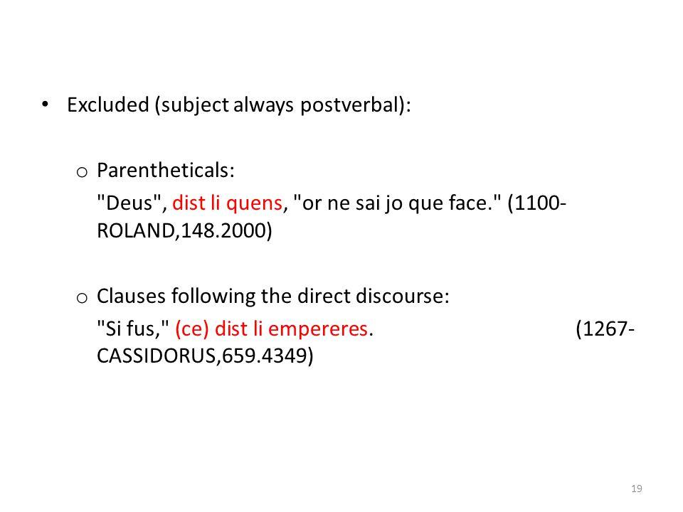 Excluded (subject always postverbal): o Parentheticals: Deus , dist li quens, or ne sai jo que face. (1100- ROLAND,148.2000) o Clauses following the direct discourse: Si fus, (ce) dist li empereres.