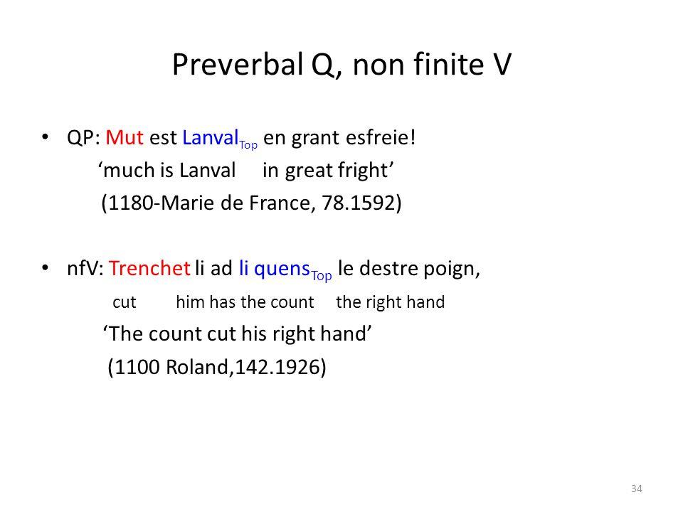 Preverbal Q, non finite V QP: Mut est Lanval Top en grant esfreie.